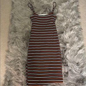 Tight Cutout back stripe midi dress